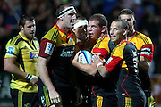 Chiefs' Toby Smith is mobbed by teammates after his try. Super Rugby rugby union match, Chiefs v Hurricanes at Waikato Stadium, Hamilton, New Zealand. Saturday 28th April 2012. Photo: Anthony Au-Yeung / photosport.co.nz