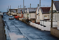 © Licensed to London News Pictures. 13/01/2017. Jaywick, UK. The seafront at Jaywick, Essex, where homes were expected to evacuated due to the threat of flooding in low-lying areas . Photo credit: Ben Cawthra/LNP