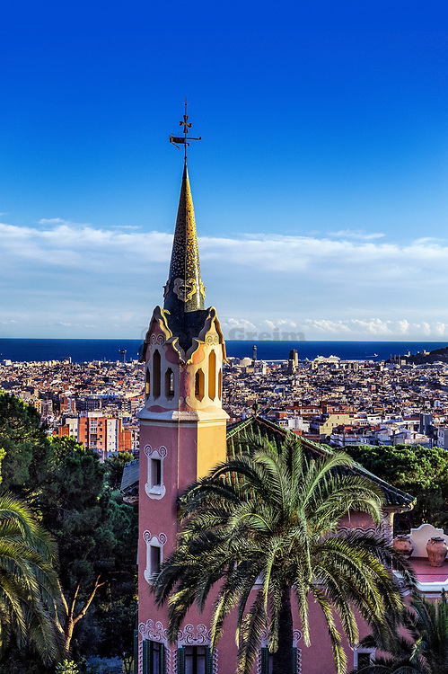 Park Guell overlloking the city, Barcelona, Spain