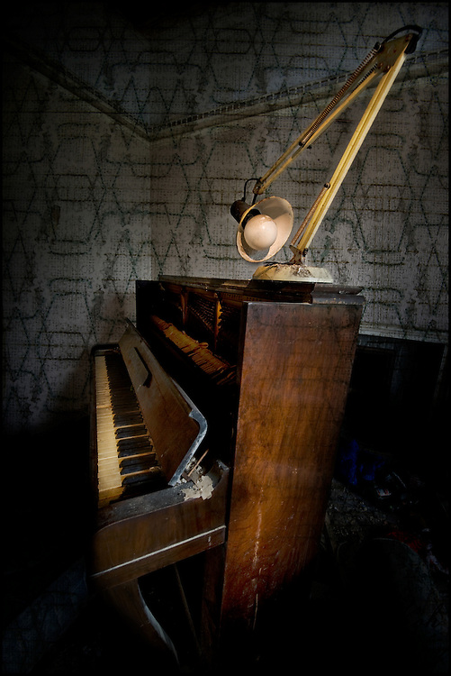 Piano in abandoned house