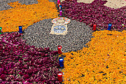 Floral decorations for the Day of the Dead festival in Santa Clara del Cobre, Michoacan, Mexico.