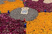 Floral decorations for the Day of the Dead festival in Santa Clara del Cobre, Michoacan, Mexico.