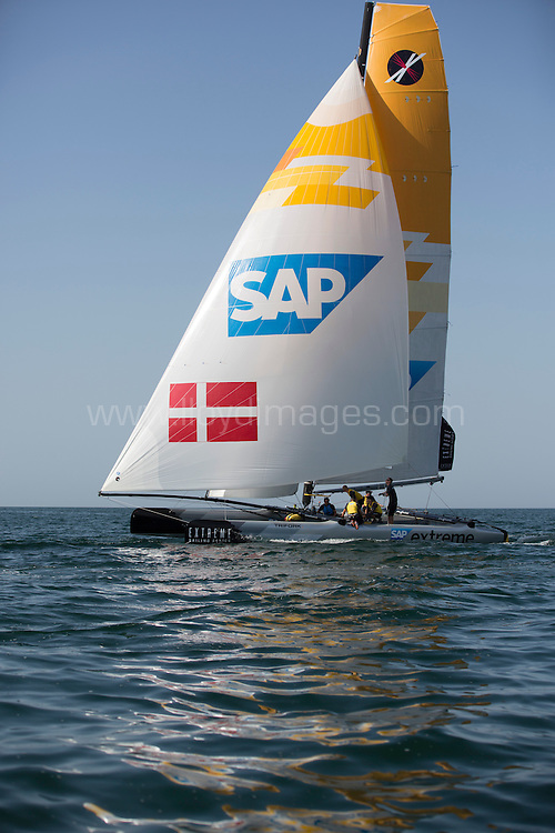 The Extreme Sailing Series 2013. Act 1. SAP Extreme Sailing skippered by Jes Gram-Hansen and Rasmus Køstner .with Pete Cumming, Mikkel Røssberg, Nicolai Sehested .Please credit: Lloyd Images