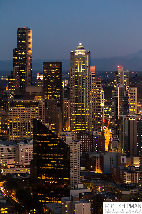 Downtown Seattle, WA, skyline at twilight