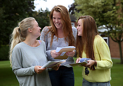© Licensed to London News Pictures.15/08/2013. Solihull, West Midlands, UK. Solihull School A Level Results. Pictured, from left, Nicola Cronin, Victoria Beech and Lucy Rosier all 18, open their A level result envelopes.Photo credit : Dave Warren/LNP