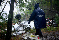 September 7, 2016 - Skopje, Macedonia - A part of a private plane traveling from the north Italian city of Treviso is seen after it has crashed in a mountainous region of Macedonia, in the village of Kozle, 20 kilometres from Skopje on September 7, 2016. A private plane travelling from the north Italian city of Treviso crashed in a mountainous region of Macedonia, killing all six people onboard : four Italian nationals and two from Kosovo. (Credit Image: © Borce Popovski/NurPhoto via ZUMA Press)