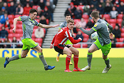 March 16, 2019 - Sunderland, Tyne and Wear, United Kingdom - Sunderland's Max Power contests for the ball with Walsall's George Dobson and Walsall's Nicky Devlin during the Sky Bet League 1 match between Sunderland and Walsall at the Stadium Of Light, Sunderland on Saturday 16th March 2019. (Credit: Steven Hadlow | MI News) (Credit Image: © Mi News/NurPhoto via ZUMA Press)