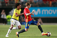 Spain's Nacho Monreal (r) and Colombia's Juan Guillermo Cuadrado during international friendly match. June 7,2017.(ALTERPHOTOS/Acero)