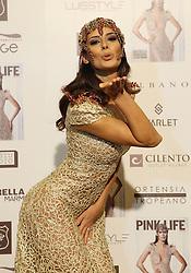 Napoli Presentation new issue of Pink Life magazine cover Raffaella Modugno wearing a dress of the designer Bruno Caruso.Nella