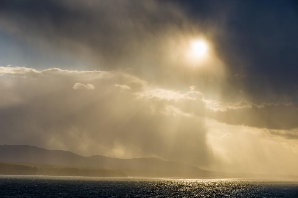 Afternoon storm, spring, Strait of Juan de Fuca, Salish Sea, near Port Angeles, Washington, USA