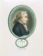 Immanuel Kant (1724-1804)  German philosopher. Print published London 1812. Profile portrait surrounded by Ouroboros, ancient Egyptian-Greek symbolic serpent with tail in mouth devouring itself, representing unity of material and spiritual in eternal circle of change and recreation.