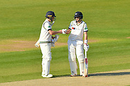 Gary Ballance of Yorkshire and Joe Root of Yorkshire touch gloves during the Specsavers County Champ Div 1 match between Hampshire County Cricket Club and Yorkshire County Cricket Club at the Ageas Bowl, Southampton, United Kingdom on 11 April 2019.
