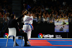 November 11, 2018 - Madrid, Madrid, Spain - Spain Team figth with Japan Team for golg medal and win the tournament of female Kata Team during the Finals of Karate World Championship celebrates in Wizink Center, Madrid, Spain, on November 11th, 2018. (Credit Image: © AFP7 via ZUMA Wire)