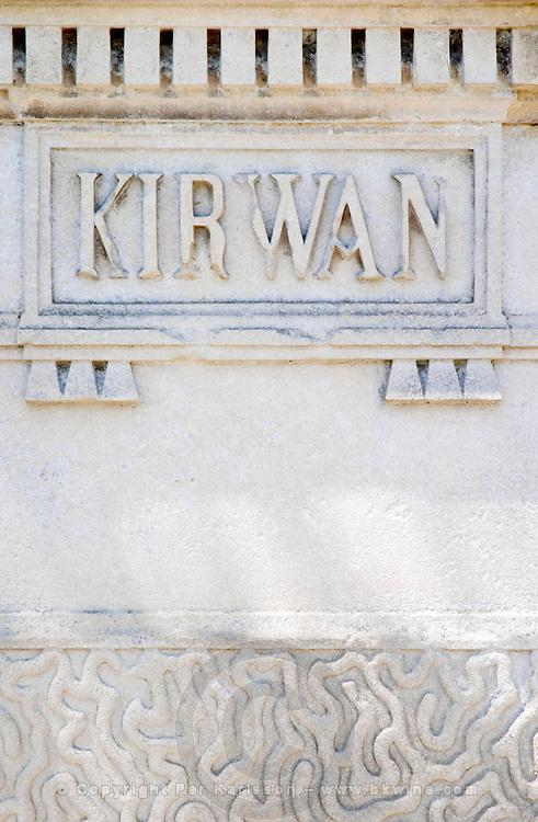 A stone inscription Kirwan on one of the gate post pillars Chateau Kirwan, Cantenac Margaux Medoc Bordeaux Gironde Aquitaine France