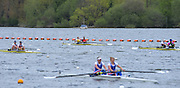 Reading. United Kingdom. GBR W2- bow Helen GLOVER and Heather STANNING head the field in their afternoon women's pair semi final.   Redgrave and Pinsent Rowing Lake. Caversham.<br /> <br /> 14:53:21  Saturday  19/04/2014<br /> <br />  [Mandatory Credit: Peter Spurrier/Intersport<br /> Images]