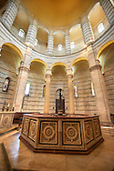 Baptism font in The  interior of the Bapistry of Pisa, Italy