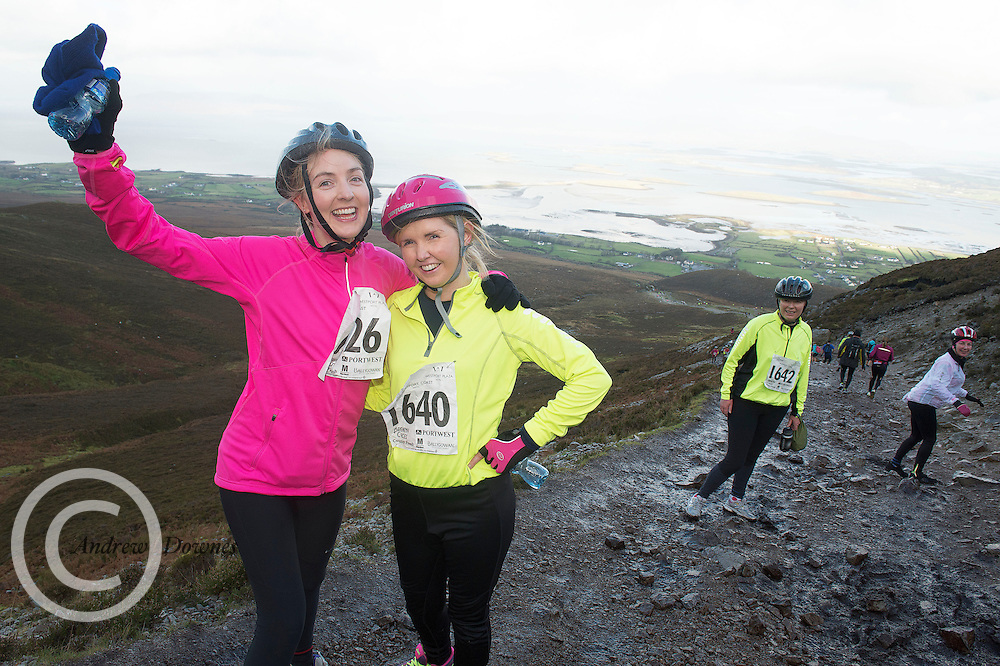 08/11/2014 repro free  Nicola Hoyne and Claire O Halloran  from Kilkenny  on Croagh Patrick  in the Sea 2 Summit adventure race in Westport Co. Mayo. Photo:Andrew Downes