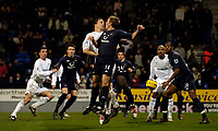 Fotball<br /> England 2004/2005<br /> Foto: SBI/Digitalsport<br /> NORWAY ONLY<br /> <br /> Bolton Wanderers v Tottenham Hotspurs, Barclays Premiership, 01/02/2005.<br /> Tottenham's Anthony Gardner (R) appears to handle the ball as it ricochets around in the penalty box.