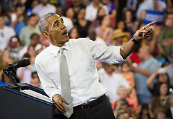 October 28, 2016 - Florida, U.S. - LOREN ELLIOTT       Times .President Obama speaks at a Hillary Clinton campaign rally at the University of Central Florida in Orlando on Friday, Oct. 28, 2016. He encouraged voters to cast their ballots early. (Credit Image: © Loren Elliott/Tampa Bay Times via ZUMA Wire)