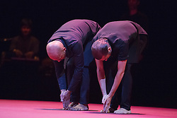 © Licensed to London News Pictures. 03/11/2014. London, England. L-R: Akram Khan and Israel Galván. UK Premiere of TOROBAKA with Akram Khan & Israel Galván;  performances from 3 to 8 November 2014 at Sadler's Wells Theatre. TOROBAKA takes its name from a Maori-inspired phonetic poem by Tristan Tzara. The bull (toro) and the cow (vaca) are sacred animals in the dancers' two traditions and TOROBAKA brings together kathak with flamenco to create a performance that is new, distinctive and that defies classification. Photo credit: Bettina Strenske/LNP