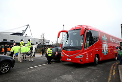 The Liverpool coach arrives for the UEFA Champions League, Quarter Final at the Etihad Stadium, Manchester.