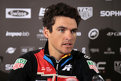 March 30, 2018 - Laethem-Saint-Martin, Belgique - SINT-MARTENS-LATEM, BELGIUM - MARCH 30 : VAN AVERMAET Greg  (BEL)  of BMC Racing Team with BALDATO Fabio  (ITA) Ass. Sports Director of BMC Racing Team and OCHOWICZ Jim  (USA) General Manager of BMC Racing Team pictured during a press conference prior the 102th Ronde Van Vlaanderen by Flanders Classics at Hotel Auberge du Pecheur on March 30, 2018 in Sint-Martens-Latem, Belgium, (Credit Image: © Panoramic via ZUMA Press)