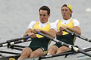 Munich, GERMANY, 2006, FISA, AUS LM2X Bow, Cameron Wurf, Sam Beltz,  Rowing, World Cup,  on the Olympic Regatta Course, Munich, Fri. 26.05.2006. © Peter Spurrier/Intersport-images.com,  / Mobile +44 [0] 7973 819 551 / email images@intersport-images.com.[Mandatory Credit, Peter Spurier/ Intersport Images] Rowing Course, Olympic Regatta Rowing Course, Munich, GERMANY