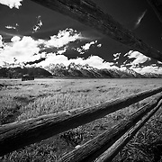 The old fence corral of the Mormon Row buildings in Grand Teton National Park near Jackson, Wyoming.