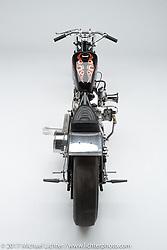 A shovelhead drag racer built by Dalton Walker of Split Image Kustoms (SIK) in Hanford, CA for Robin's Jean. Photographed by Michael Lichter in Sturgis, SD on July 31, 2017. ©2017 Michael Lichter.