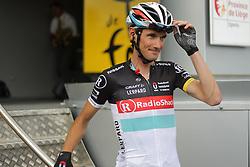 01.07.2012, Luettich, BEL, Tour de France, 1. Etappe Luettich-Seraing, im Bild SCHLECK Frank (RadioShack Nissan) nach dem Einschreiben // during the Tour de France, Stage 1, Liege-Seraing, Belgium on 2012/07/01. EXPA Pictures © 2012, PhotoCredit: EXPA/ Eibner/ Ben Majerus..***** ATTENTION - OUT OF GER *****