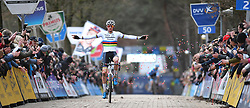 February 9, 2019 - Lille, BELGIUM - Dutch Mathieu Van Der Poel celebrates as he crosses the finish line to win the men's elite race of the Krawatencross cyclocross in Lille, the eighth and last stage in the DVV Trofee Cyclocross competition, Saturday 09 February 2019. BELGA PHOTO DAVID STOCKMAN (Credit Image: © David Stockman/Belga via ZUMA Press)
