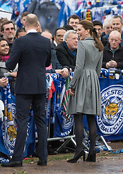 Catherine, Duchess of Cambridge and Prince William, Duke of Cambridge meet the public during a visit to pay tribute to Vichai Srivaddhanaprabha,  the chairman of Leicester City Football Club,  and the others who were tragically killed in the helicopter crash while leaving the King Power Stadium.<br />November 28, 2018