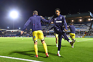 Toby Sibbick (20) of AFC Wimbledon and other players warming up before the EFL Sky Bet League 1 match between Bristol Rovers and AFC Wimbledon at the Memorial Stadium, Bristol, England on 23 October 2018.