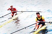 England, 1989 Henley Royal Regatta, River Thames, Henley Reach,  [© Peter Spurrier/Intersport Images], The Diamond Challenge Sculls, Final right winner Vaclav CHULUPA, Dukla Praha, Czechoslovakia, and left Kajetan BRONIEWSKI,