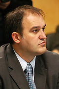 Pristina, Kosovo<br /> Thursday, September 25th, 2008<br /> <br /> <br /> PICTURED: Minister of Culture, Youth and Sports (MCYS), Valton Beqiri. during the government meeting.<br /> <br /> Vedat Xhymshiti / ZUMA Press