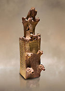 Hittite terra cotta tower shaped vessel representing a two storey tower of the city walls complete with merlons - 14th century BC - Hattusa ( Bogazkoy ) - Museum of Anatolian Civilisations, Ankara, Turkey .<br /> <br /> If you prefer to buy from our ALAMY STOCK LIBRARY page at https://www.alamy.com/portfolio/paul-williams-funkystock/hittite-art-antiquities.html  - Type Hattusa into the LOWER SEARCH WITHIN GALLERY box. Refine search by adding background colour, place, museum etc<br /> <br /> Visit our HITTITE PHOTO COLLECTIONS for more photos to download or buy as wall art prints https://funkystock.photoshelter.com/gallery-collection/The-Hittites-Art-Artefacts-Antiquities-Historic-Sites-Pictures-Images-of/C0000NUBSMhSc3Oo