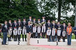 Prize giving Young Riders team competition :<br /> 1.Germany :  Louisa Lüttgen, Sanneke Rothenberger, Charlott-Maria Schümann, Annabel Frenzen, chef d'equipe Maria Schierhölter-Otto<br /> 2. Denmark : Catherine Dufour, Rikke BØllingtoft, Carina Nevermann Torup, Simone Ahlers Pedersen, chef d'equipe Hans Christian Matthiesen<br /> 3. Netherlands : Melissa Tychon, Angela Krooswijk, Daniëlle Houtvast, Michelle Van Lanen, chef d'equipe Tinneke Bartles<br /> European Championship Dressage Young Riders - Broholm 2011