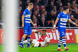13-03-2019 NED: Ajax - PEC Zwolle, Amsterdam<br /> Ajax has booked an oppressive victory over PEC Zwolle without entertaining the public 2-1 / Gustavo Hamer #6 of PEC Zwolle, David Neres #7 of Ajax, Mike van Duinen #9 of PEC Zwolle