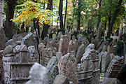 The Old Jewish Cemetery located in Josefov, the Jewish Quarter of Prague in the Czech Republic.