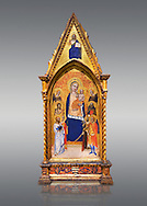 Gothic altarpiece of Madonna and Child by Niccolo di Tommaso, circa 1362-1367, tempera and gold leaf on wood.  National Museum of Catalan Art, Barcelona, Spain, inv no: MNAC  212809. . .<br /> <br /> If you prefer you can also buy from our ALAMY PHOTO LIBRARY  Collection visit : https://www.alamy.com/portfolio/paul-williams-funkystock/gothic-art-antiquities.html  Type -     MANAC    - into the LOWER SEARCH WITHIN GALLERY box. Refine search by adding background colour, place, museum etc<br /> <br /> Visit our MEDIEVAL GOTHIC ART PHOTO COLLECTIONS for more   photos  to download or buy as prints https://funkystock.photoshelter.com/gallery-collection/Medieval-Gothic-Art-Antiquities-Historic-Sites-Pictures-Images-of/C0000gZ8POl_DCqE