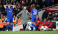 Arsenal's Arsene Wenger shouts at Leicester's Robert Huth during the Premier League match at the Emirates Stadium, London. Picture date: April 26th, 2017. Pic credit should read: David Klein/Sportimage
