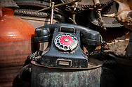 An old landline phone with Arabic numbers on the rotary dial at an antique market in Cairo, Egypt. (March 2010)