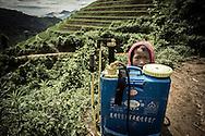 Red Dao kid hides behind a sprayer. Thanh Kim Commune, Sapa District, Lao Cai Province, Vietnam, Southeast Asia