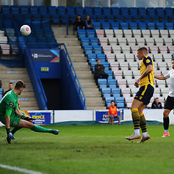 TELFORD COPYRIGHT MIKE SHERIDAN CHANCE. Aaron Williams of Telford sees his effort saved during the Vanarama National League Conference North fixture between AFC Telford United and Guiseley on Saturday, October 19, 2019.<br /> <br /> Picture credit: Mike Sheridan/Ultrapress<br /> <br /> MS201920-026