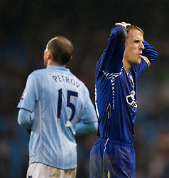 MANCHESTER, ENGLAND - Monday, February 25, 2008: Everton's Phil Neville can't believe Manchester City's Martin Petrov has been sent off so late into injury time during the Premiership match at the City of Manchester Stadium. (Photo by David Rawcliffe/Propaganda)