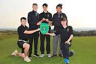 Team RBAI - Josh Robinson, Aaron Marshall, Luke Kelly, Marco Deane and Darcy Hogg winners of the Irish Schools Senior Championship at Portstewart Golf Club, Portstewart, Co Antrim on Tuesday 23rd April 2019.<br /> Picture:  Thos Caffrey / www.golffile.ie<br /> <br /> All photos usage must carry mandatory copyright credit (© Golffile   Thos Caffrey)