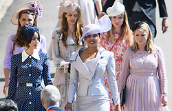© Licensed to London News Pictures. 19/05/2018. London, UK.  Bollywood superstar PRIYANKA CHOPRA (centre) attends the wedding of Prince Harry, The Duke of Sussex and Meghan Markle, The Duchess of Sussex at St George's Chapel in Windsor Castle . Photo credit: LNP