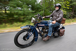 Dave Holzerland riding his 1916 Indian after leaving Harley-Davidson of Rochester, New Hampshire for a hosted lunch during the Motorcycle Cannonball coast to coast vintage run. Stage-1 (145-miles) from Portland, Maine to Keene, NH. Saturday September 8, 2018. Photography ©2018 Michael Lichter.