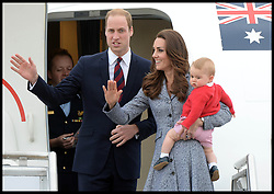 The Duke and Duchess of Cambridge with their son Prince George leave Canberra airport, Australia, as they head back to the UK on the final day of their 19 day tour of New Zealand and Australia, Friday, 25th April 2014. Picture by Andrew Parsons / i-Images