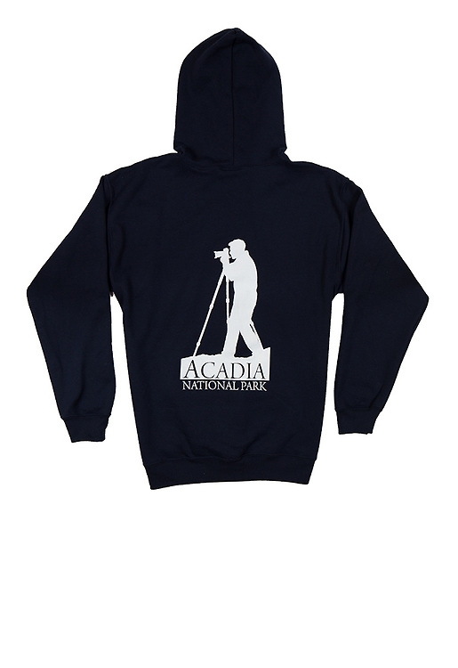 The Acadia National Park photographer's zip-up hoody, available exclusively through J.K. Putnam Photography. Available in navy blue, men's sizes M, L, XL, XXL.